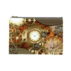Steampunk, Wonderful Steampunk Design With Clocks And Gears In Golden Desing Cosmetic Bag (Large)
