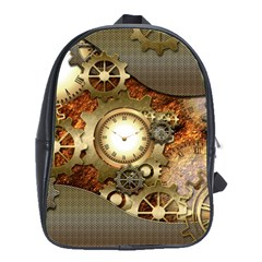 Steampunk, Wonderful Steampunk Design With Clocks And Gears In Golden Desing School Bags(Large)