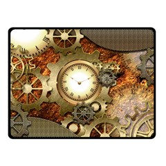 Steampunk, Wonderful Steampunk Design With Clocks And Gears In Golden Desing Fleece Blanket (Small)