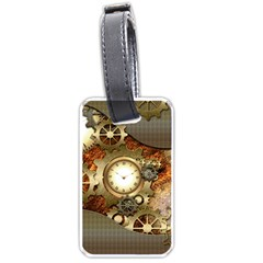 Steampunk, Wonderful Steampunk Design With Clocks And Gears In Golden Desing Luggage Tags (Two Sides)