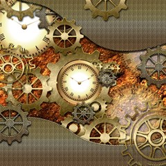 Steampunk, Wonderful Steampunk Design With Clocks And Gears In Golden Desing Magic Photo Cubes