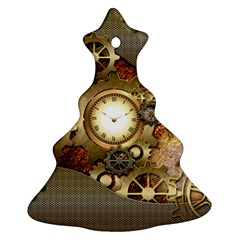 Steampunk, Wonderful Steampunk Design With Clocks And Gears In Golden Desing Ornament (christmas Tree)