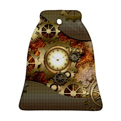 Steampunk, Wonderful Steampunk Design With Clocks And Gears In Golden Desing Ornament (bell)