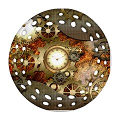 Steampunk, Wonderful Steampunk Design With Clocks And Gears In Golden Desing Round Filigree Ornament (2side)