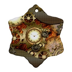 Steampunk, Wonderful Steampunk Design With Clocks And Gears In Golden Desing Snowflake Ornament (2-Side)