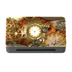 Steampunk, Wonderful Steampunk Design With Clocks And Gears In Golden Desing Memory Card Reader With Cf