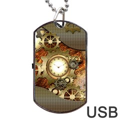 Steampunk, Wonderful Steampunk Design With Clocks And Gears In Golden Desing Dog Tag Usb Flash (two Sides)