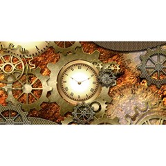 Steampunk, Wonderful Steampunk Design With Clocks And Gears In Golden Desing You Are Invited 3d Greeting Card (8x4)