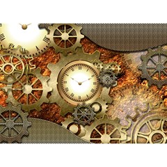 Steampunk, Wonderful Steampunk Design With Clocks And Gears In Golden Desing Birthday Cake 3D Greeting Card (7x5)