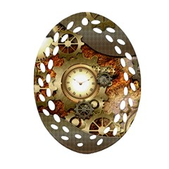 Steampunk, Wonderful Steampunk Design With Clocks And Gears In Golden Desing Oval Filigree Ornament (2-Side)