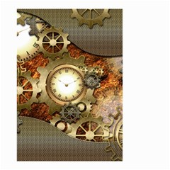 Steampunk, Wonderful Steampunk Design With Clocks And Gears In Golden Desing Small Garden Flag (two Sides)