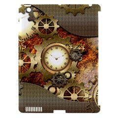 Steampunk, Wonderful Steampunk Design With Clocks And Gears In Golden Desing Apple iPad 3/4 Hardshell Case (Compatible with Smart Cover)