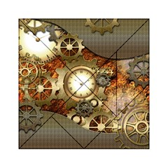 Steampunk, Wonderful Steampunk Design With Clocks And Gears In Golden Desing Acrylic Tangram Puzzle (6  x 6 )