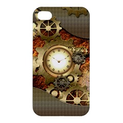 Steampunk, Wonderful Steampunk Design With Clocks And Gears In Golden Desing Apple iPhone 4/4S Premium Hardshell Case