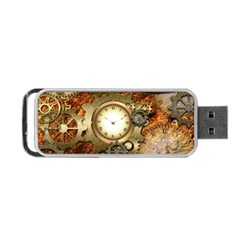 Steampunk, Wonderful Steampunk Design With Clocks And Gears In Golden Desing Portable USB Flash (One Side)