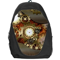 Steampunk, Wonderful Steampunk Design With Clocks And Gears In Golden Desing Backpack Bag