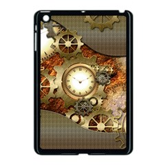 Steampunk, Wonderful Steampunk Design With Clocks And Gears In Golden Desing Apple iPad Mini Case (Black)