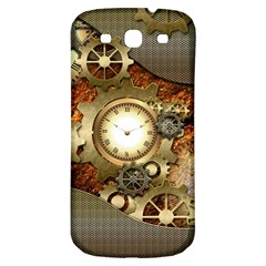 Steampunk, Wonderful Steampunk Design With Clocks And Gears In Golden Desing Samsung Galaxy S3 S III Classic Hardshell Back Case