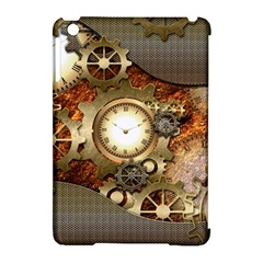 Steampunk, Wonderful Steampunk Design With Clocks And Gears In Golden Desing Apple iPad Mini Hardshell Case (Compatible with Smart Cover)