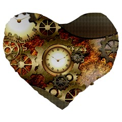 Steampunk, Wonderful Steampunk Design With Clocks And Gears In Golden Desing Large 19  Premium Heart Shape Cushions