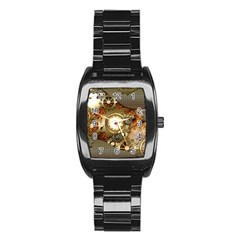 Steampunk, Wonderful Steampunk Design With Clocks And Gears In Golden Desing Stainless Steel Barrel Watch
