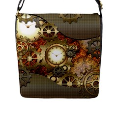 Steampunk, Wonderful Steampunk Design With Clocks And Gears In Golden Desing Flap Messenger Bag (L)