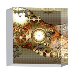 Steampunk, Wonderful Steampunk Design With Clocks And Gears In Golden Desing 5  x 5  Acrylic Photo Blocks