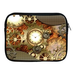 Steampunk, Wonderful Steampunk Design With Clocks And Gears In Golden Desing Apple iPad 2/3/4 Zipper Cases