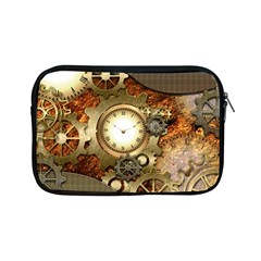 Steampunk, Wonderful Steampunk Design With Clocks And Gears In Golden Desing Apple iPad Mini Zipper Cases