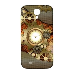 Steampunk, Wonderful Steampunk Design With Clocks And Gears In Golden Desing Samsung Galaxy S4 I9500/I9505  Hardshell Back Case