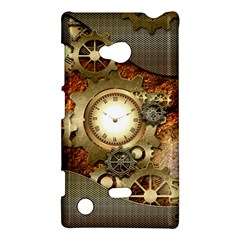 Steampunk, Wonderful Steampunk Design With Clocks And Gears In Golden Desing Nokia Lumia 720