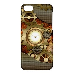 Steampunk, Wonderful Steampunk Design With Clocks And Gears In Golden Desing Apple iPhone 5C Hardshell Case