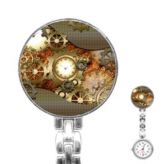 Steampunk, Wonderful Steampunk Design With Clocks And Gears In Golden Desing Stainless Steel Nurses Watches