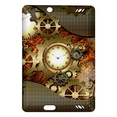 Steampunk, Wonderful Steampunk Design With Clocks And Gears In Golden Desing Kindle Fire HD (2013) Hardshell Case
