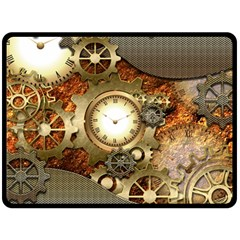 Steampunk, Wonderful Steampunk Design With Clocks And Gears In Golden Desing Double Sided Fleece Blanket (Large)