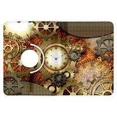 Steampunk, Wonderful Steampunk Design With Clocks And Gears In Golden Desing Kindle Fire HDX Flip 360 Case