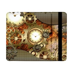 Steampunk, Wonderful Steampunk Design With Clocks And Gears In Golden Desing Samsung Galaxy Tab Pro 8.4  Flip Case