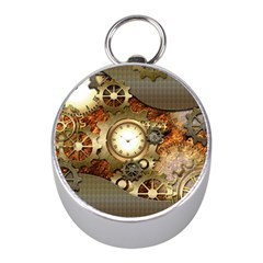 Steampunk, Wonderful Steampunk Design With Clocks And Gears In Golden Desing Mini Silver Compasses