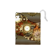 Steampunk, Wonderful Steampunk Design With Clocks And Gears In Golden Desing Drawstring Pouches (Small)