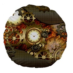 Steampunk, Wonderful Steampunk Design With Clocks And Gears In Golden Desing Large 18  Premium Flano Round Cushions