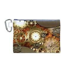 Steampunk, Wonderful Steampunk Design With Clocks And Gears In Golden Desing Canvas Cosmetic Bag (M)