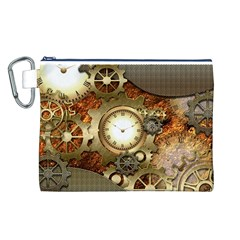 Steampunk, Wonderful Steampunk Design With Clocks And Gears In Golden Desing Canvas Cosmetic Bag (L)