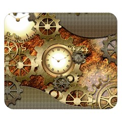 Steampunk, Wonderful Steampunk Design With Clocks And Gears In Golden Desing Double Sided Flano Blanket (small)