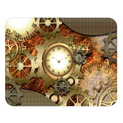 Steampunk, Wonderful Steampunk Design With Clocks And Gears In Golden Desing Double Sided Flano Blanket (Large)