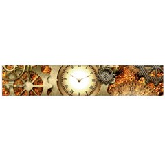 Steampunk, Wonderful Steampunk Design With Clocks And Gears In Golden Desing Flano Scarf (Large)