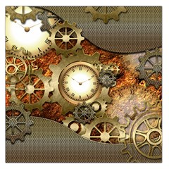 Steampunk, Wonderful Steampunk Design With Clocks And Gears In Golden Desing Large Satin Scarf (Square)