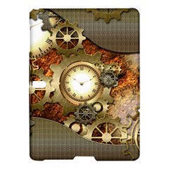 Steampunk, Wonderful Steampunk Design With Clocks And Gears In Golden Desing Samsung Galaxy Tab S (10.5 ) Hardshell Case