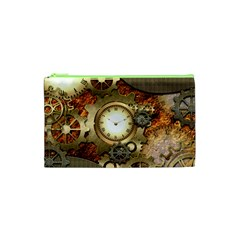 Steampunk, Wonderful Steampunk Design With Clocks And Gears In Golden Desing Cosmetic Bag (XS)