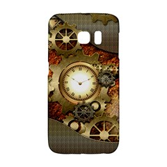 Steampunk, Wonderful Steampunk Design With Clocks And Gears In Golden Desing Galaxy S6 Edge