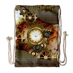 Steampunk, Wonderful Steampunk Design With Clocks And Gears In Golden Desing Drawstring Bag (Large)